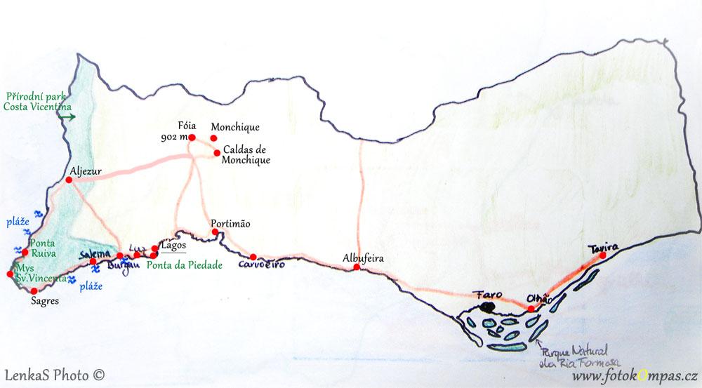 Mapa Algarve s výletem