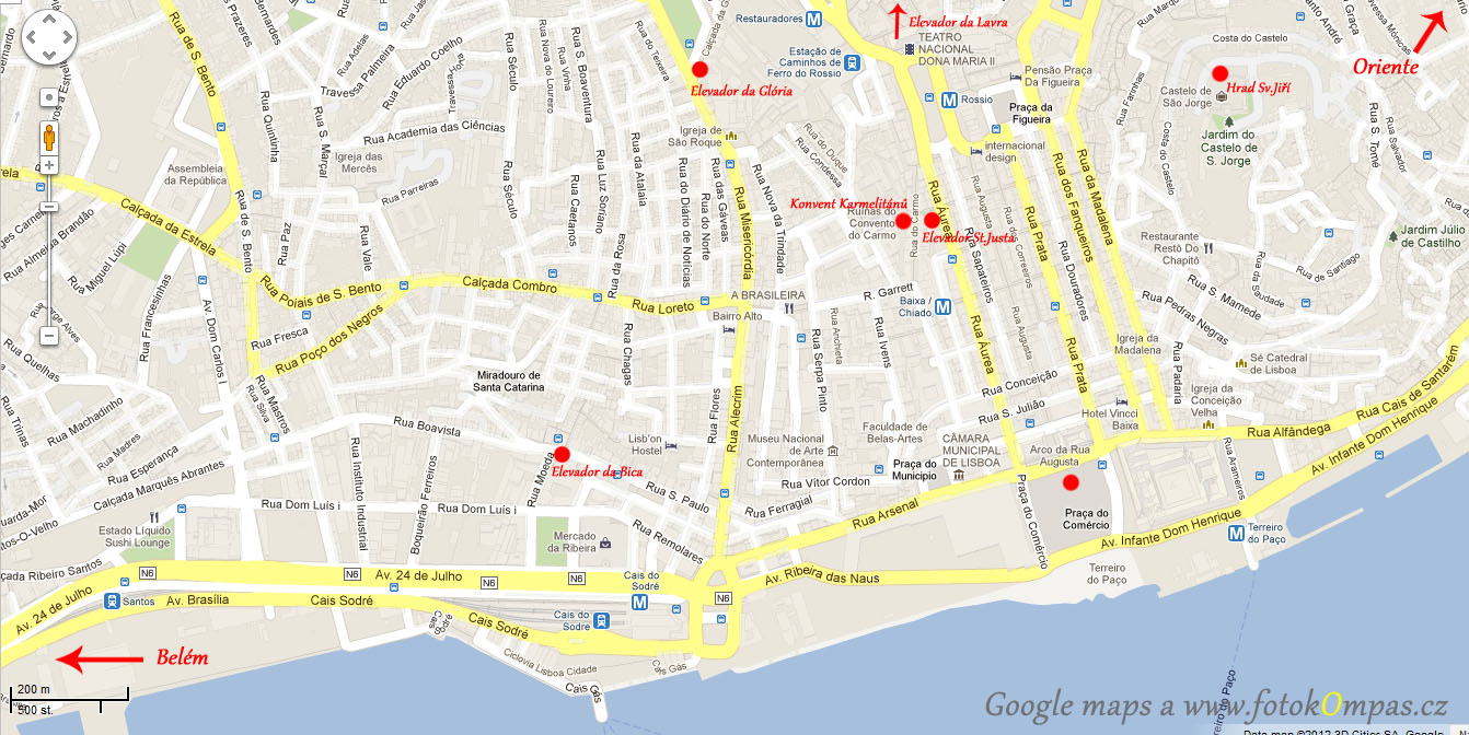 Lisabon mapa s památkami