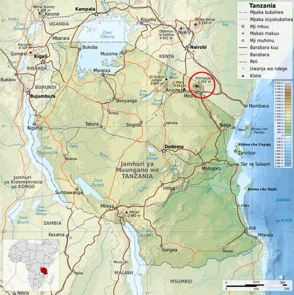 Tanzánie mapa Kilimandžáro